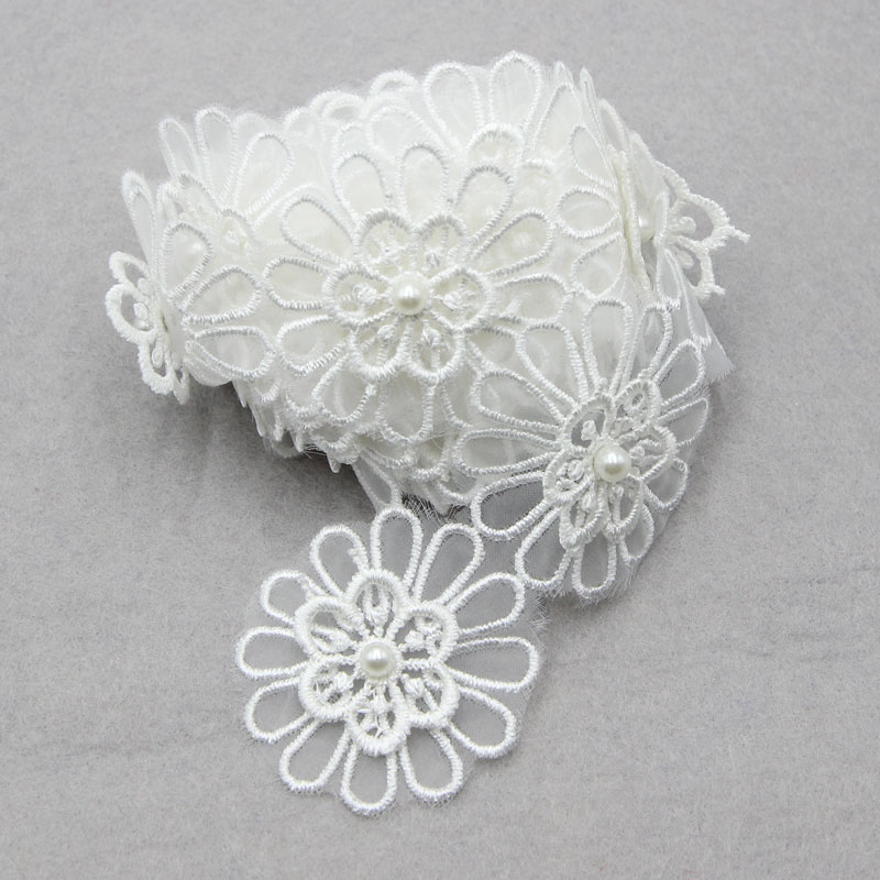 2 Yards 6cm White Flower Pearl  Lace Trim High Quality For Wedding Dresses  Sewing Accessories Hats Clothes Decor