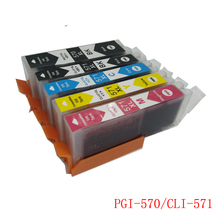 Vilaxh PGI-570 Refillable Ink Cartridge PGI570 5PCS For canon MG5750 MG5751 MG5752 MG5753 MG6850 MG6851 MG6852 MG6853 TS5055 PGI