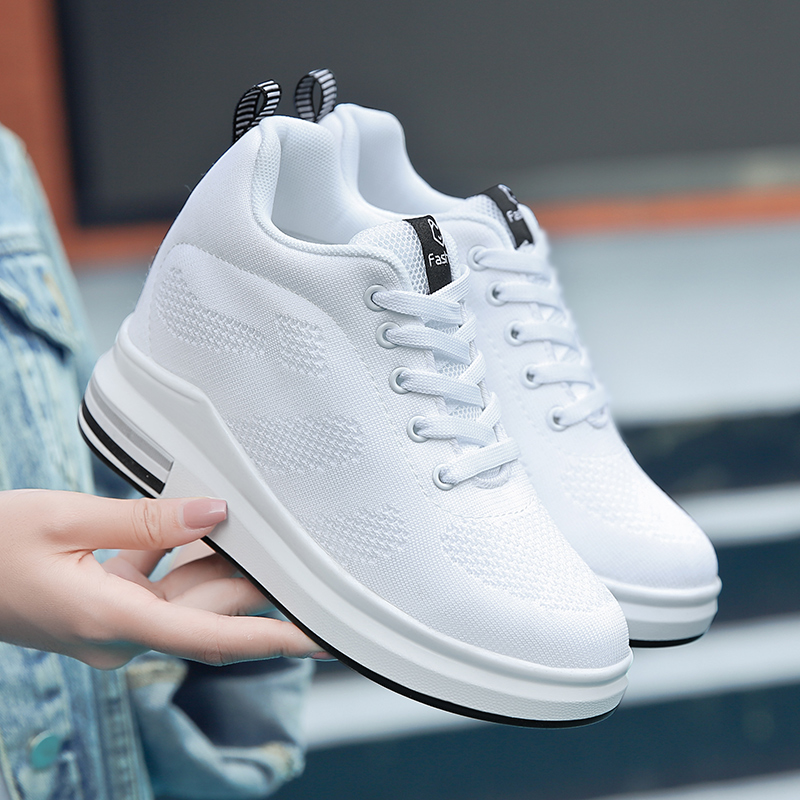 Hide Heel Women Fashion Sneakers Flying Knitting Wedge Casual Shoes Woman Air Mesh Breathable Autumn High Top Ladies Shoes SH3 (2)