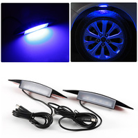 4 Blue LED Flash Universal Atmosphere Lamps LED Car Tyre Wheel Eyebrow Lights Car Styling