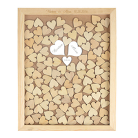 Personalized Engraved Mirror Rustic Wooden Wedding Guest Book Custom Drop Top Box With 130 Hearts Gift
