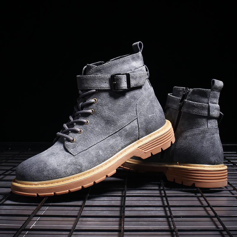 En Boucle Casual Bottines grey Up Cuir Homme Bout Hommes Chaussures brown Lingge Lace Black Rond Daim Bottes Mode TPiuOkZX