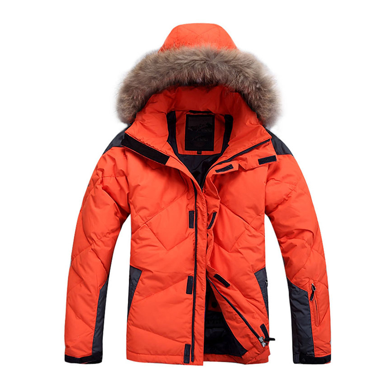 UNITRENDY 2019 New Winter Men   Down   Jacket Warm   Down     Coat   White Duck   Down   Real Raccoon Fur Hooded   Down   Jackets Outwear   Coats