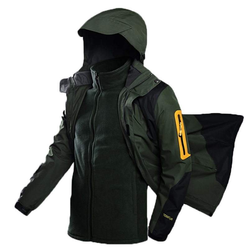 Men Winter Trekking Hiking Camping Skiing Climbing Waterproof Fishing Thermal Warm Plus Size 3 In 1 Outdoor Jackets 5XL Oversize