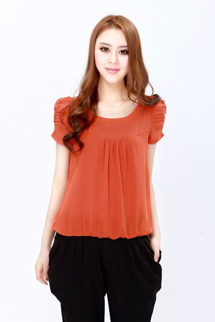 Women 39 S Orange Red Crystal Blouse Lovely T Shirt Princess