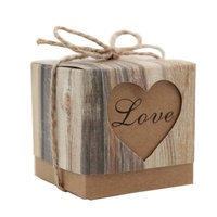 New 50pcs Lot Romantic Heart Candy Boxvintage Kraft Wedding Favors And Gifts Box For Wedding Party