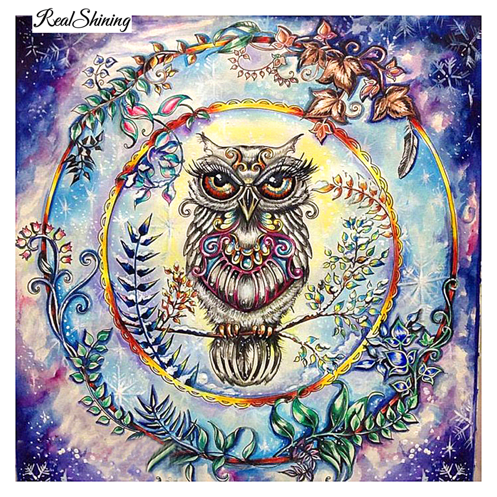 REALSHINING 3D DIY Diamond Painting Cartoon Colorful Owl
