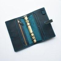 MatoTu Genuine Leather Multi function Spiral Ring Notebook Cowhide A6 Handmade Vintage Diary Loose Leaf DIY Ring Binder Inserts