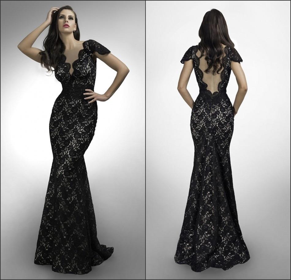 Por Encargo Vestido De Renda V Cuello De Encaje Negro Noche