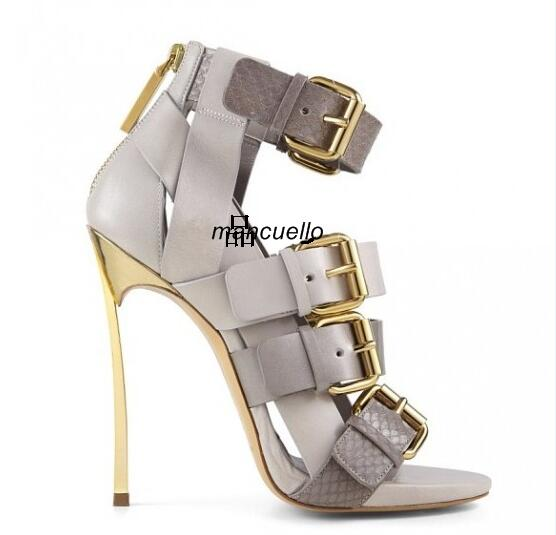 цена Groovy Grey PU Leather Metal Heel Sandals Stylish Snakeskin Matched Buckles Decoration Stiletto Heel Dress Sandals Best Selling