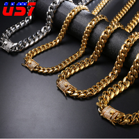 US7 Rock Miami Curb Cuban Hip Hop Rapper 316L Stainless Steel Necklace For Men Gold Crystal Iced Out Clasp Link Chain Jewelry