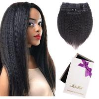 Kinky Straight Human Hair Clip ins Yaki Virgin Hair Full Head Clip on Remy Hair Extensions Natural Color 128 grams