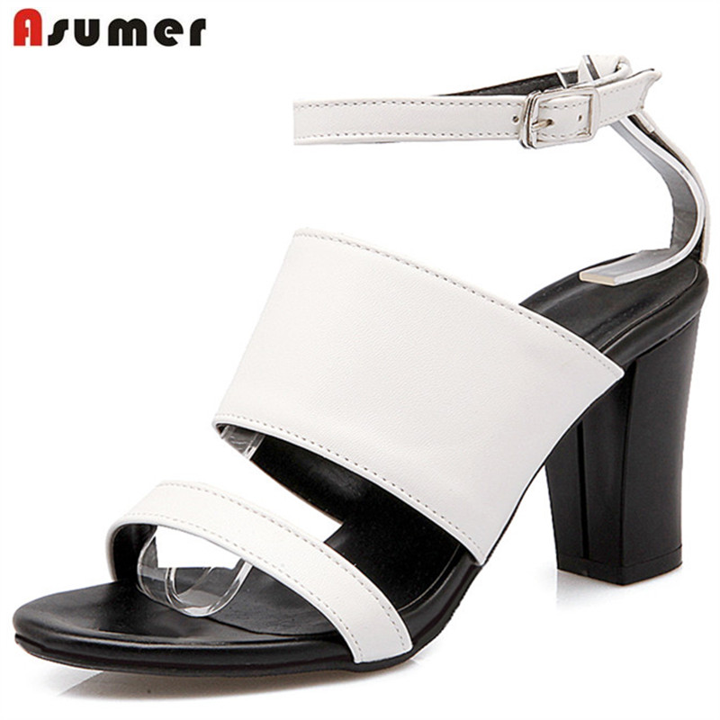 Asumer Plus size 34-42 women PU soft leather sandals summer shoes buckle fashion punk buckle solid high heels shoes party wholesale fine fashion men women sunglasses 3592554 with leather buckle size 56 18 130 mm
