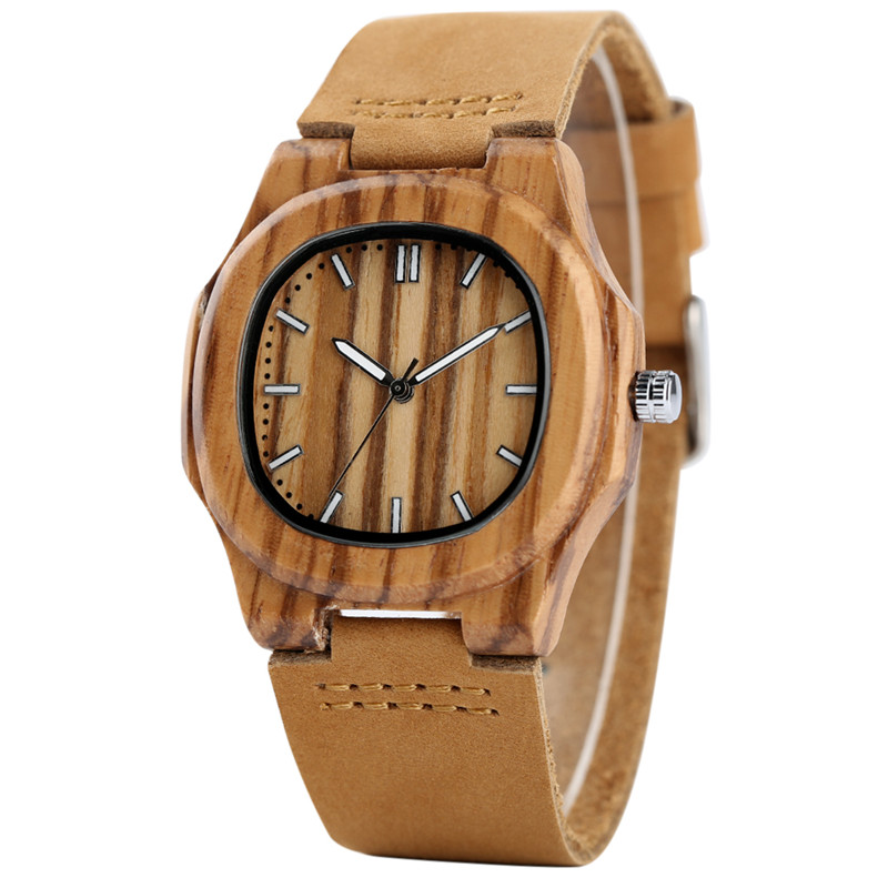 YISUYA Bamboo Wooden Watch Men Unique Design Genuine Leather Band Modern Quartz Creative Watches Women Business Wood Clock Gift yisuya luxury wooden watches for men vintage analog quartz handmade walnut zebra bamboo wood band wristwatch clock gifts reloj