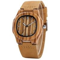 YISUYA Bamboo Wooden Watch Men Unique Design Genuine Leather Band Modern Quartz Creative Watches Women Business