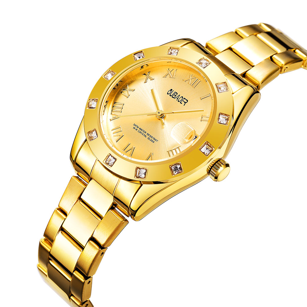 OUBAOER Watches women Fashion GOLD Luxury watch Top Brand Ladies ROLE Quartz wristwatches Steel dress girl watches Women watch A women men quartz silver watches onlyou brand luxury ladies dress watch steel wristwatches male female watch date clock 8877