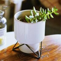 Modern Indoor Ceramic Bonsai Planter Succulent Flowerpot Simple Geometric Porcelain Creative Potted Plant Flower Home Decoration