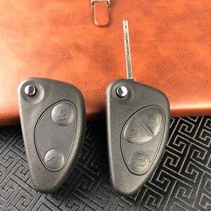 OkeyTech odwróć obudowa pilota z kluczykiem samochodowym dla Alfa Romeo 147 156 GT 2 3 przyciski Uncut Blade Blank wymiana nowa dobrej jakości obudowa