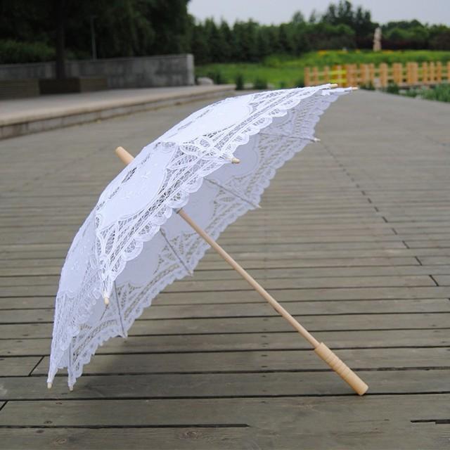Free shipping New Vintage Lace Umbrella Handmade Cotton Embroidery White & beige Battenburg Lace Parasol Umbrella Wedding Decor