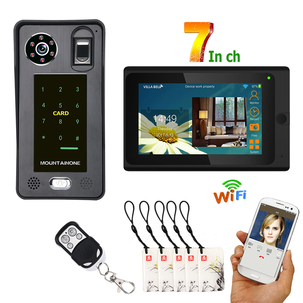 7inch Touch Screen Wired Wifi Fingerprint IC Card Video Door Phone Doorbell Intercom System Support Remote APP Unlocking