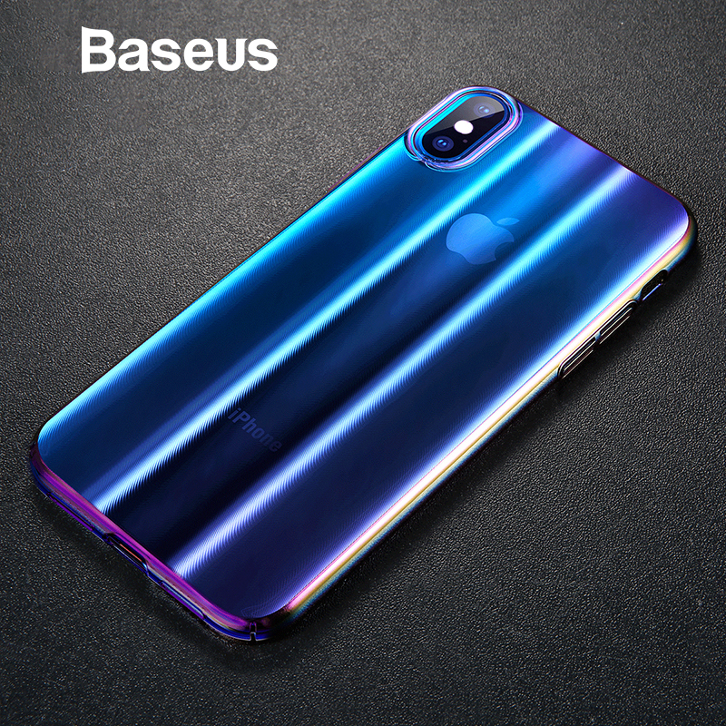 Baseus De Luxe Aurora Affaire Pour iPhone Xs Xs Max XR 2018 Gradient De Mode Dur Boîtier En Plastique Pour iPhone Xs Dos couverture de téléphone