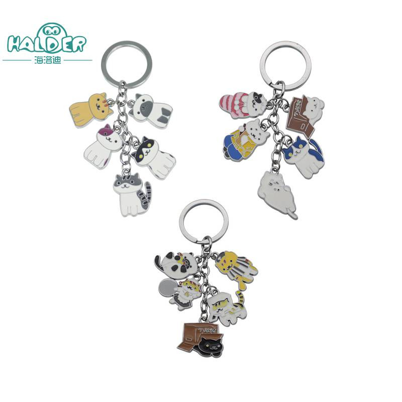 Halder Cartoon Games Neko Atsume Cats Cosplay Key Chains Keyring Round Zinc Alloy Five Cats Trinkets Accessories Keychain