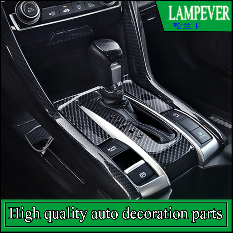 Car-styling Interior ABS Carbon Fiber Style Gear Box Shift Panel Cover Trim For Honda Civic 2016 2017 Left Hand Drive