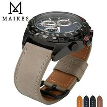 MAIKES Luxury Gray Watch Accessories Genuine Leather 24mm 22