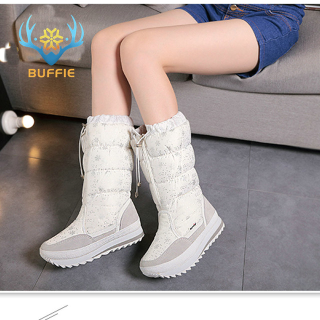 Buffie winter heißer verkauf weibliche frauen stiefel vier farbe weiß schwarz grau und navy botas heißer verkauf china marke winter stiefel