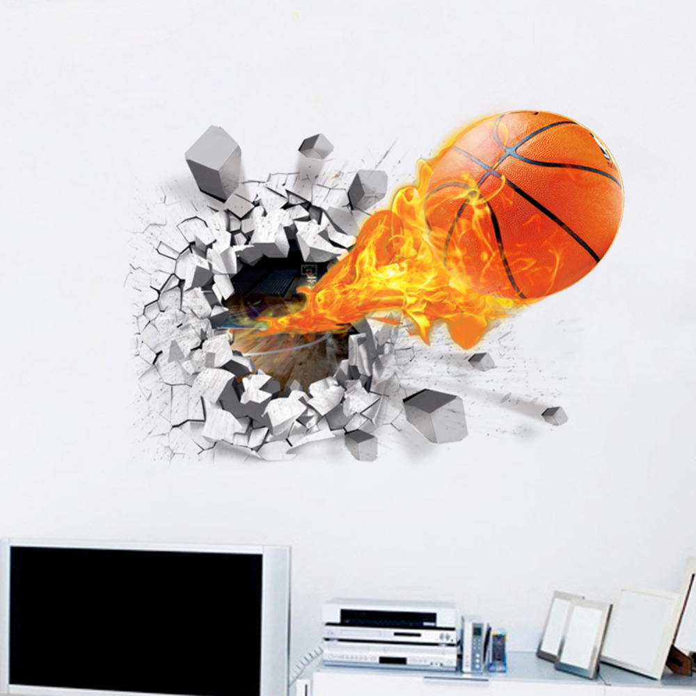 New arrival 3d lifelike basketball wall stickers nba for Sticker mural 3d