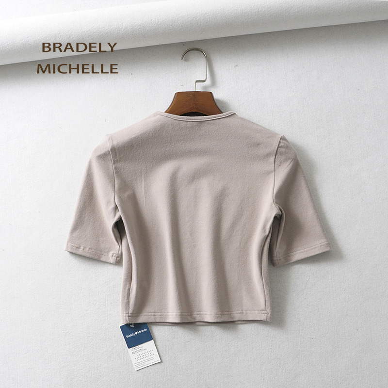 HTB1 cfCajnuK1RkSmFPq6AuzFXab - BRADELY MICHELLE crop tops for women Sexy female pure cotton o-neck half-length sleeve solid elasticity shirt