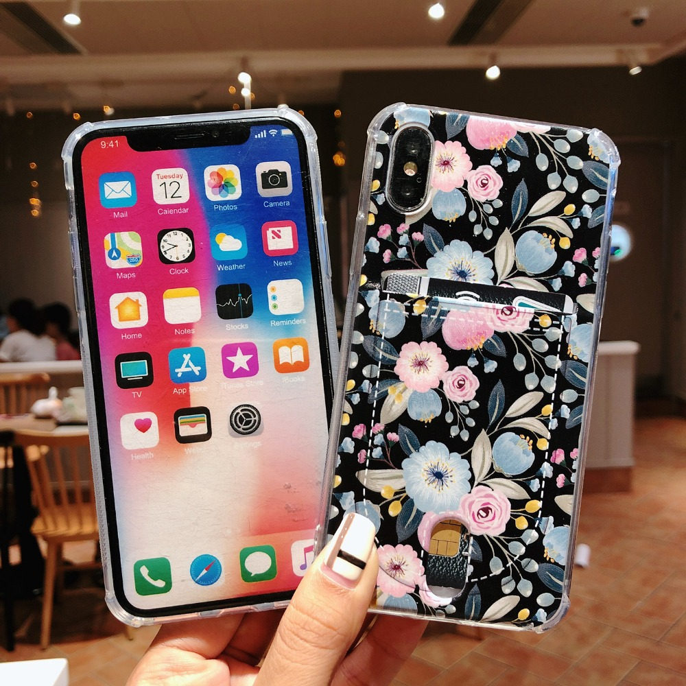 Flower TPU Case for iPhone X XS MAX XR 7 8 6 6S Plus 7Plus 8Plus Soft Silicone Floral Phone Cases Cover With Card Pocket (6)