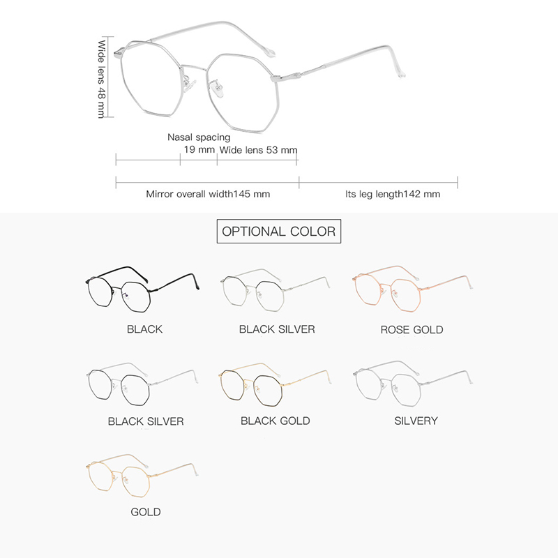 HBK Anti Blue Rays Hexagon Glasses Polygonal Optical Glasses Protective Eye Protection Retro Eyewear Frame PG0016 in Men 39 s Eyewear Frames from Apparel Accessories
