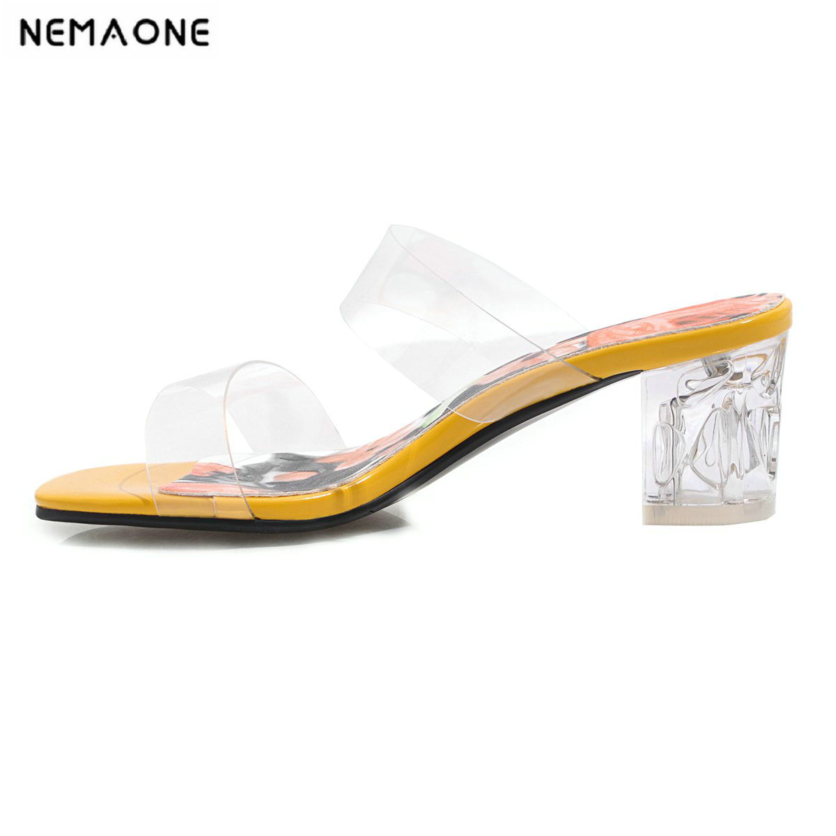 NEMAONE PVC Jelly Slippers Sandals Open Toe Square heel Women Transparent high heels women Slippers Shoes woman