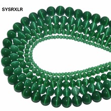 Wholesale Natural Stone Green Opal Cat Eye Beads Round Loose For Jewelry Making DIY Bracelet 4/6/8/10/12 MM Strand