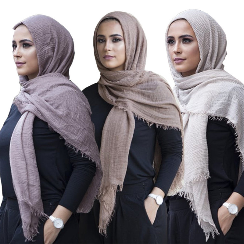 Trendy Muslim Instant Scarf Shawl And Wrap Cotton Crinkled Hijab Solid Lightweight Islam Foulard Turban For Women Headscarf