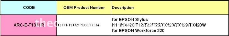 ARC-E-T1331R) принтер микросхема автоматического сброса для Epson T1331-T1334 T133 T 133 стилус N11/NX420/T12/T22/T25 V6.2