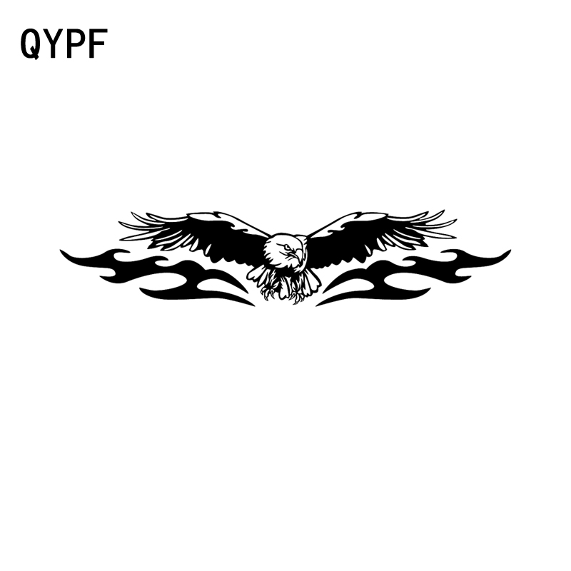 QYPF 18.9CM*4CM Fashion AMERICAN EAGLE FULL WING Car Sticker Decal Black/Silver Vinyl Graphical C15-0924