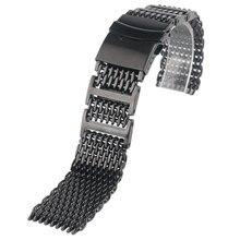 HQ 20mm 22mm 24mm Erkek Paslanmaz Çelik saat kayışı Köpekbalığı Örgü Bilek Kayışı Lüks Bilezik Yedek Siyah Itme düğme