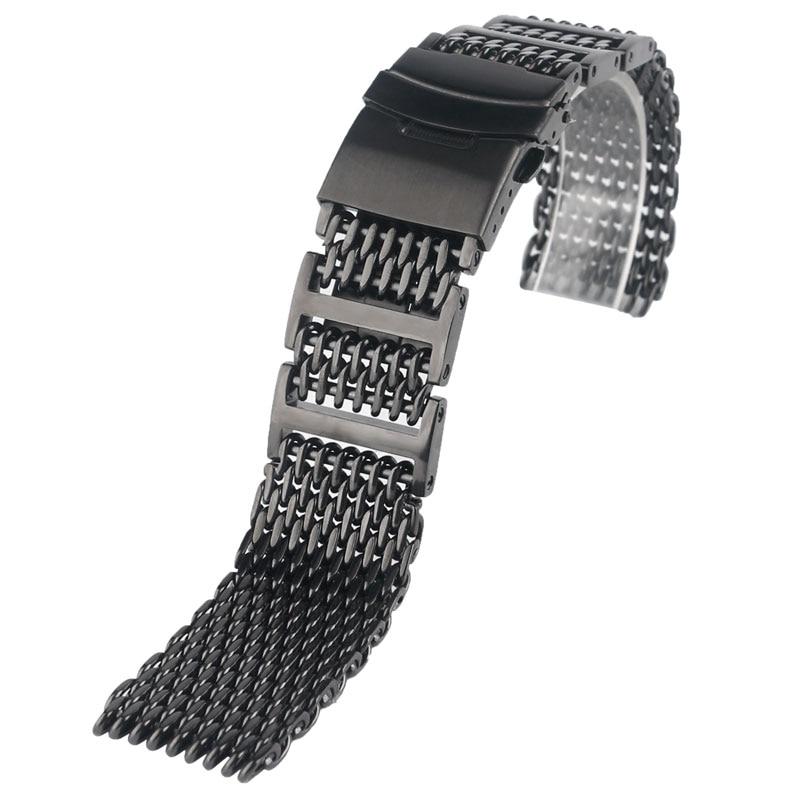 HQ 20mm 22mm 24mm Heren roestvrijstalen horlogeband Haaiengaas Polsband Luxe armband Vervanging Zwarte drukknop