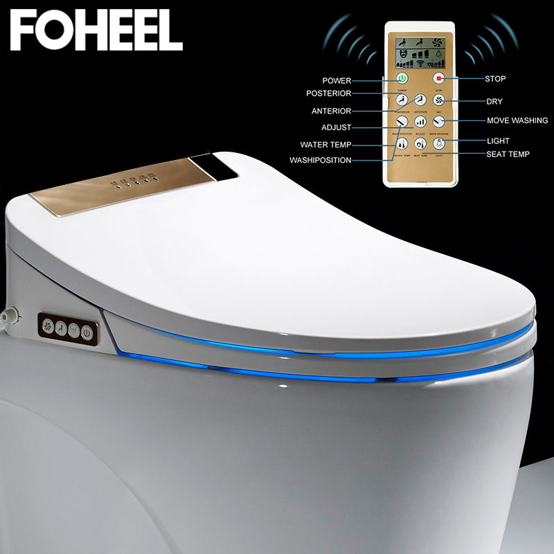 LCD 3 Color Intelligent Toilet Seat Washlet Elongated Electric Bidet Cover Smart Bidet Heating Sits Led Light Wc