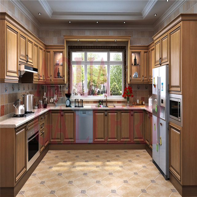 New Arrival Solid Wood U Shape Modular French Style Kitchen Cabinet