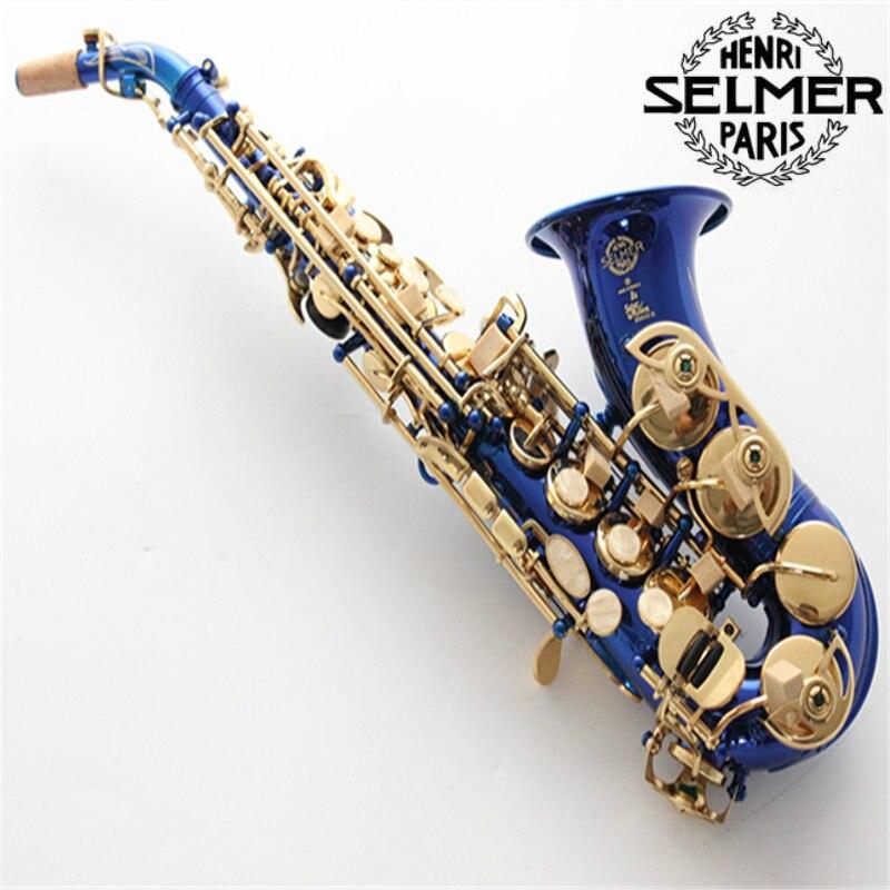 France Selm Authentique 802 Soprano saxophone B bleu clé D'or sax Professionnel instrument de musique saxophone embouchure Avec Cas