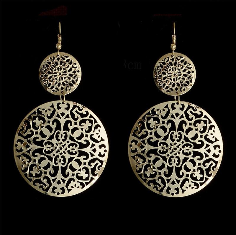 H:HYDE Wonderful Gold Color hollow round shape dangle earrings Drop Jewelry For Women wholesale boucle doreille femme