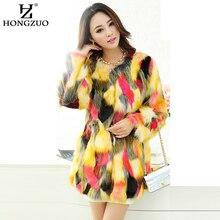 [HONGZUO] 2016 Winter Women Fur Coat Thick Warm Fashion Gradual Color Colorful Faux Fur Coat Long Jacket Overcoat Parka PC117