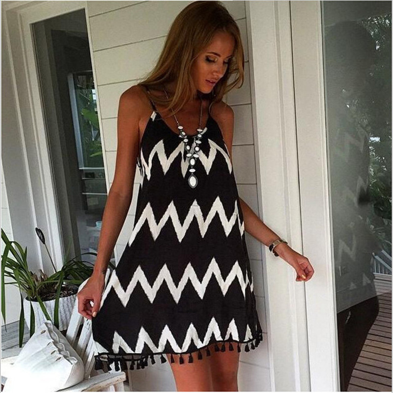 2018 Fashion Women Summer Dress Strap Dress Vestidos Waves Stirpe Tassels Beach Dress Ba ...