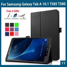 Para Samsung T585 T580N caso Ultra Delgada de LA PU Funda de piel Para Para samsung galaxy tab 10.1 2016 caso t580 t585 + free 3 regalos