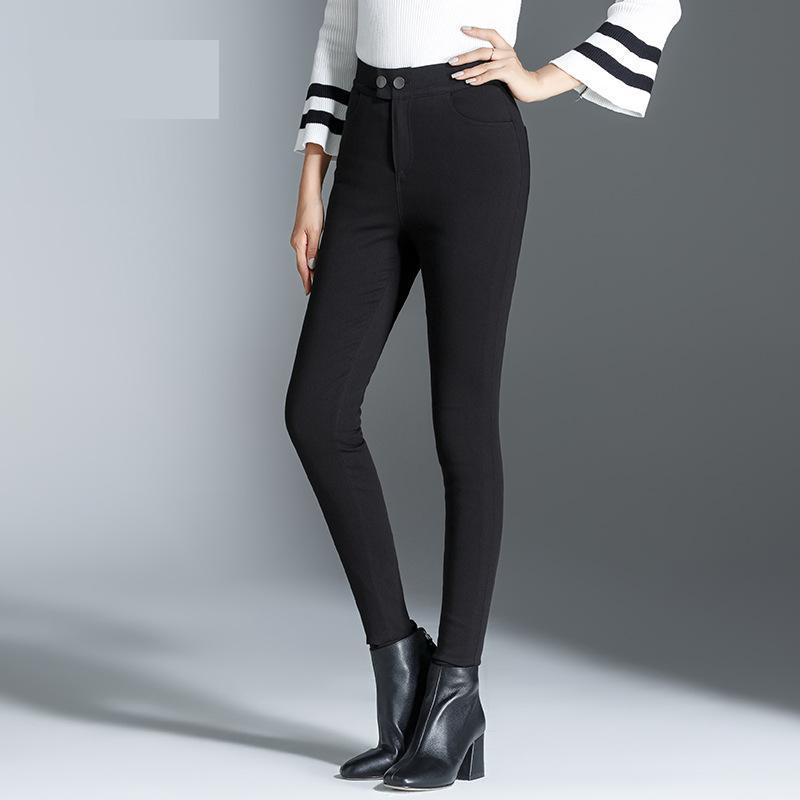 Pantalon Boot 70610 Femme Vêtements Taille Haute Cut Skinny Shuchan Chaud Longueur Noir Bas Pleine 90Vers Pour Épais D'hiver Femmes Le kiwOPXZTlu