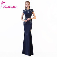 Mermaid Evening Gowns Long 2019 Elegant Evening Dresses Long Appliques with Beaded Prom Party Dresses Side Split Robe De Soiree