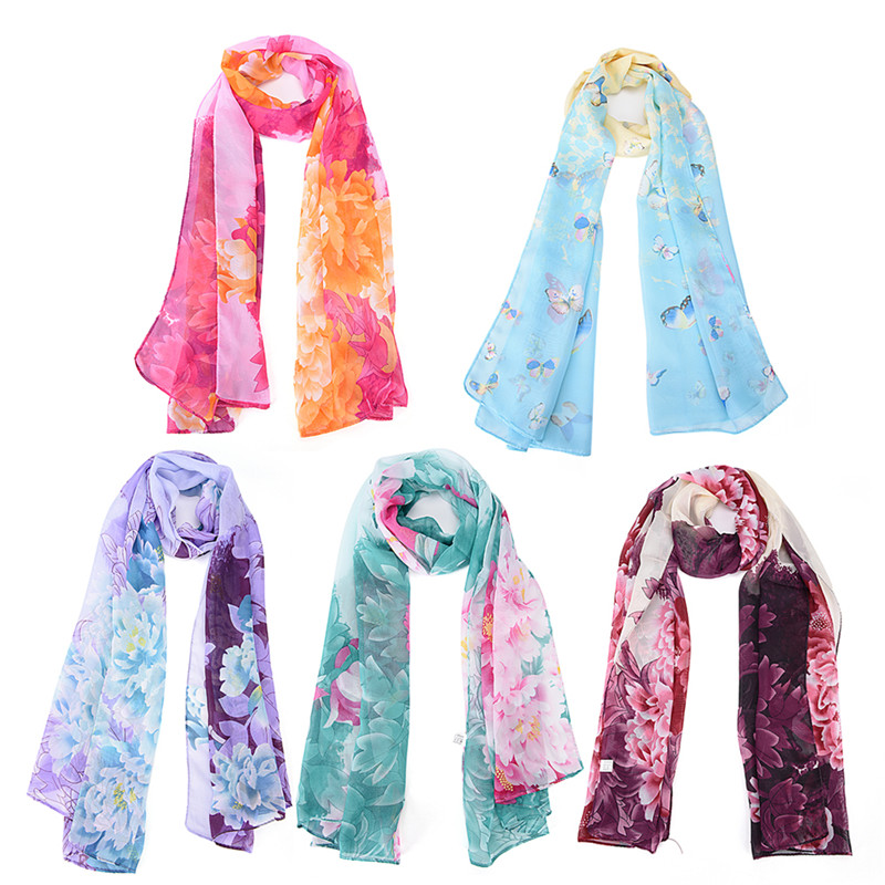 1pc Butterfly Flower Chiffon Printed Scarves Women Fashion Long Scarf 160*50cm